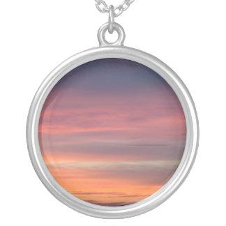 Necklace-Striped Sunset Round Pendant Necklace
