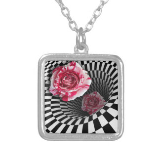 Necklace two peppermint roses in tunnel design