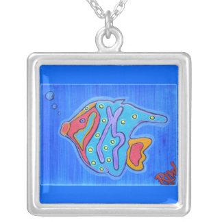Necklace-Vibrant Tropical Fish Square Pendant Necklace