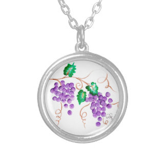 Necklace Wine Grapes - Sterling Silver Plated