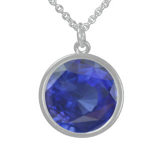necklace with designed blue sapphire gem stone.
