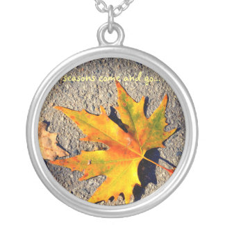 necklace with extremely beautiful autumn leaf