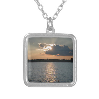 necklace with photo of silver-lining sunset