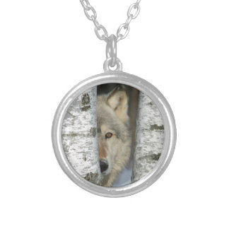 Necklace with pic of gray wolf in some birch trees