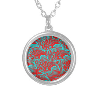 Necklace with red blue wave design