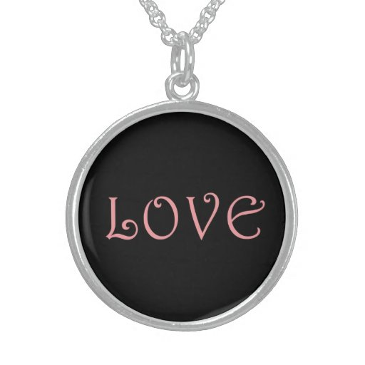 Necklace with the word 'Love' in pink letters