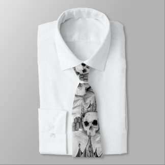 Necktie of skull with crown and gold