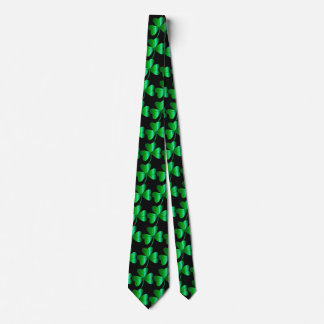 Necktie with Shamrocks and Black Background