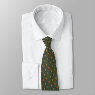 Necktie with watercolor of autumnal leaf
