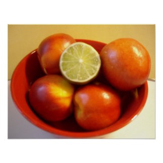 Nectarines and a Lime Poster
