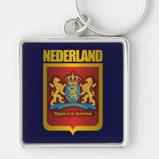 """Nederland Gold"" Silver-Colored Square Key Ring"