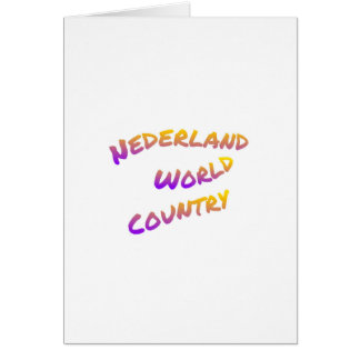 Nederland world country, colorful text art card
