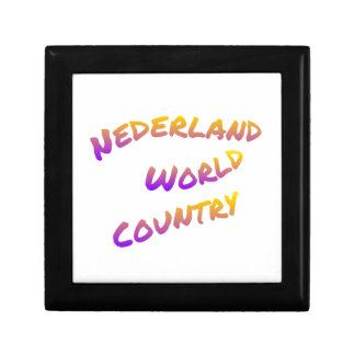 Nederland world country, colorful text art gift box