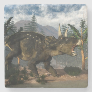 Nedoceratops roaring while running - 3D render Stone Coaster