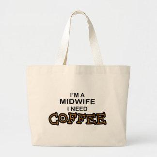 Need Coffee - Midwife Large Tote Bag