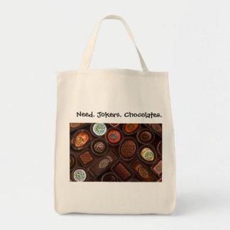 Need. Jokers. Chocolates. Grocery Totebag.