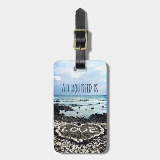 """Need Love"" Quote Hawaii Beach & Coral Heart Photo Luggage Tag"