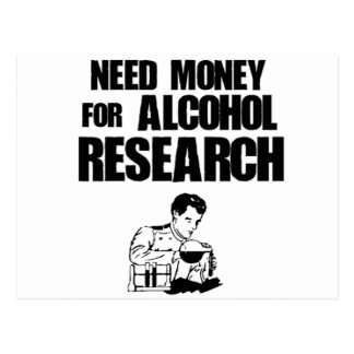 Need money for alcohol research postcard