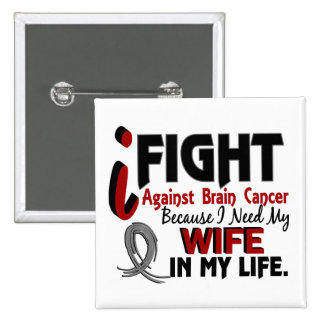 Need My Wife Brain Cancer 15 Cm Square Badge