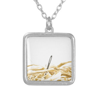needle in a haystack square pendant necklace