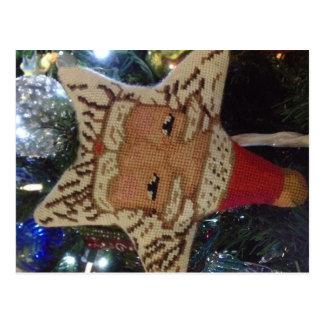 Needlepoint Star Santa Postcard