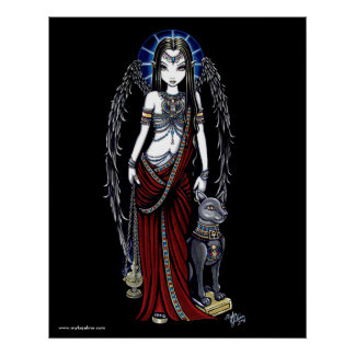 Nefertari Egyptian Bastet Goddess Angel Poster