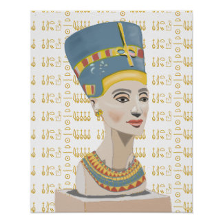 Nefertiti and Tiled  Cartouche Background Poster