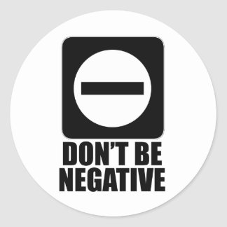 Negative 2 Black Classic Round Sticker