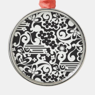 Negative Flower Silver-Colored Round Decoration