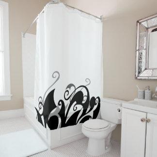 Negative Shadow Swirl Shower Curtain