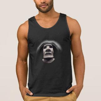 Negativized Fading Black Sun Corona Tiki Moai Logo Singlet