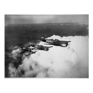 Negro Pilots in Shark-Nosed P-40 Fighter Aircraft Postcard