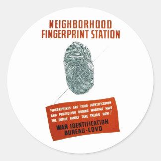 Neigborhood Fingerprint Station Round Sticker