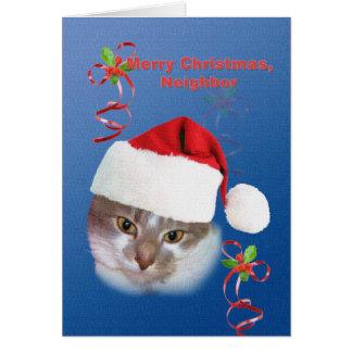 Neighbor, Christmas, Cat in Santa Hat Card