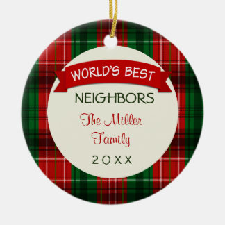 Neighbor Holiday Plaid Christmas Gift Ornaments