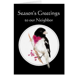 Neighbor Holiday with Rose Breasted Grosbeak Bird Card