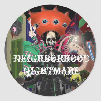 Neighborhood Nightmare Round Sticker