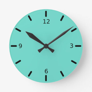 Neighborly Quietude Turquoise Blue Color Wallclocks