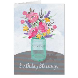 Neighbour Birthday Blessings Jar Vase with Flowers