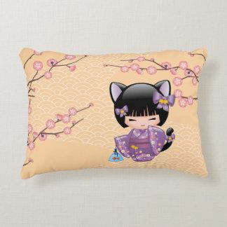 Neko Kokeshi Doll - Cat Ears Geisha Girl Decorative Cushion