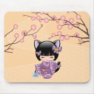 Neko Kokeshi Doll - Cat Ears Geisha Girl Mouse Pad