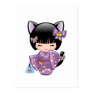 Neko Kokeshi Doll - Cat Ears Geisha Girl Postcard