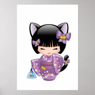 Neko Kokeshi Doll - Cat Ears Geisha Girl Poster