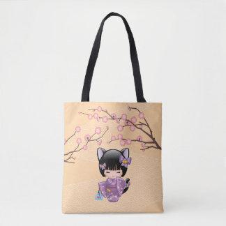 Neko Kokeshi Doll - Cat Ears Geisha Girl Tote Bag