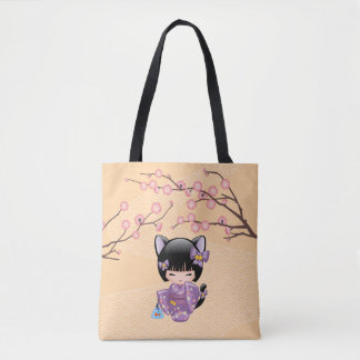 Nekomimi Kokeshi Doll - Cat Ears Neko Geisha Girl Tote Bag
