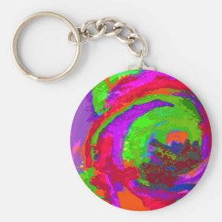 Neon Abstract Basic Round Button Key Ring