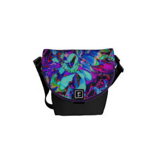 Neon Abstract Flower Frenzy Courier Bag