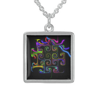 Neon Abstract Geometric on Black Artistic Necklace