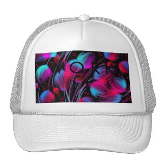 Neon Abstract Hot Pink Turquoise Black Modern Trucker Hat