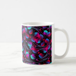Neon Abstract Hot Pink Turquoise Black Modern Coffee Mugs